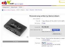 eBay auction page for a Damon Albarn song